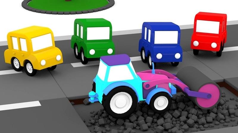Le macchinine colorate ed il rullo per compattare l'asfalto