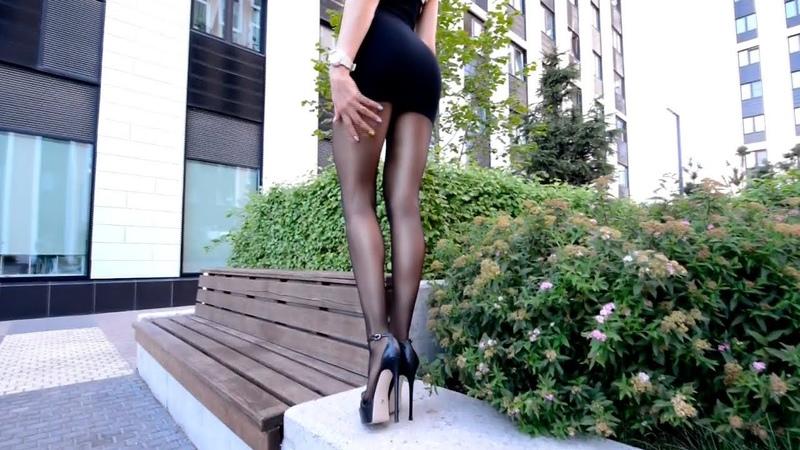 Walking Pantyhose Fashion. Mini dress long legs.
