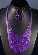 Колье и серьги из бисера 30 нитей фиолетовый, 50см - РадугаКамня.