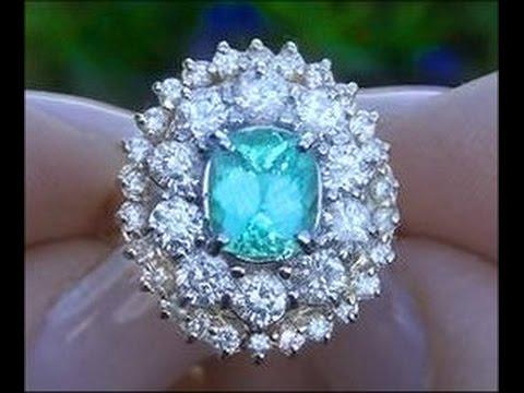 CERTIFIED 3.77 Carat Copper Bearing Paraiba Tourmaline Diamond Ring - STUNNING RING