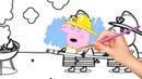 Раскраска Свинка Пеппа застряла в грязи рисуем
