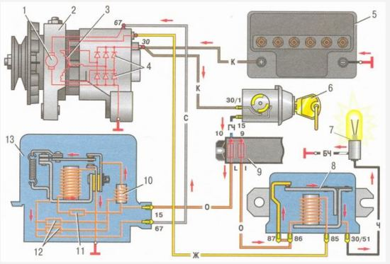 Схема зарядки с выносным реле