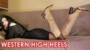 Nana's Gianmarco Lorenzi pointed toe high heels western boots Size 37 US 7 Leather Pony fur
