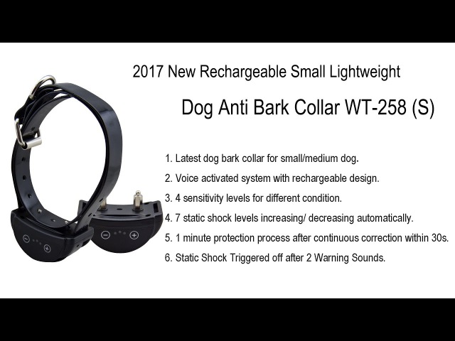 2017 New Rechargeable Small Lightweight Dog Anti Bark Collar WT-258 (S)