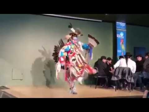 Men's traditional duck and dive dance Adrian Lachance at uAlberta 2017