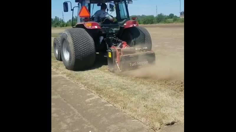 Tom is testing out our new Turf Stripper from Duke Equipment. Any grass that isn't harvested is tilled back into the soil.