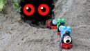 Thomas and Friends Toy Trains saw the bat in the cave. THOMAS, PERCY, JAMES be careful.