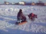 Зимние покатушки на мотоблоке с бульдозером - Winter Travel on Motoblock with a bulldozer