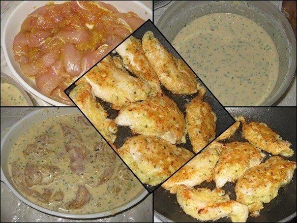 Мясо получается сочное, нежное, очень вкусное!  Ингредиенты: - куриные грудки - 600 г. - яйца - 3 шт..