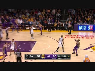 LeBron James hits from way downtown