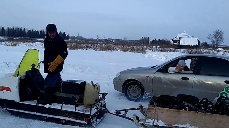 Едем на буране Тобольск Ачиры - We go on a snowmobile Tobolsk Achiry