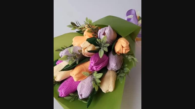 Ручной (мини) с тюльпанами в кальке