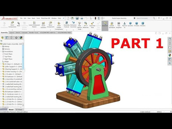 Solidworks tutorial | 6 Cylinder Radial Engine Part 1