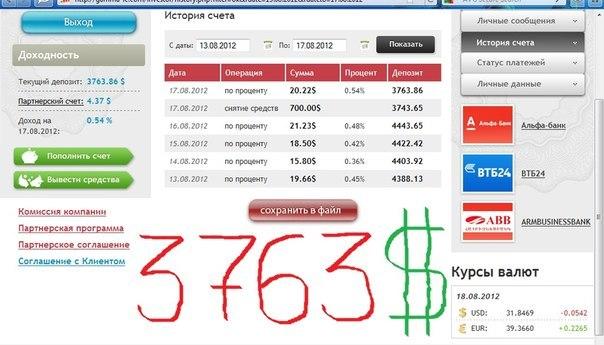 Отчет за 13.08.2012 по 17.08.2012 Вывел 700$