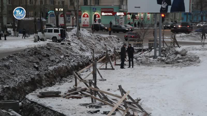 На ул. Железнодорожной в районе ж/д вокзала ведутся работы по монтажу ливневой канализации