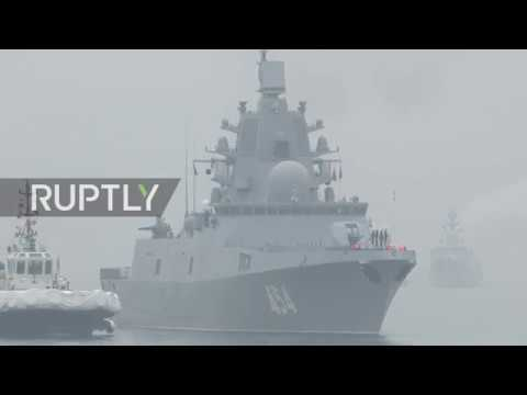 China Russian frigate Admiral Gorshkov arrives in Qingdao for Chinese Navy anniversary celebration