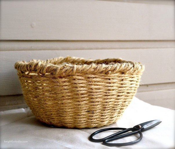 Плетеная корзина из шпагата своими руками