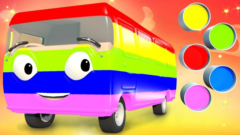 Learn Colors Finger Family Song with Bus Paint | Panda Bo Nursery Rhymes Classics