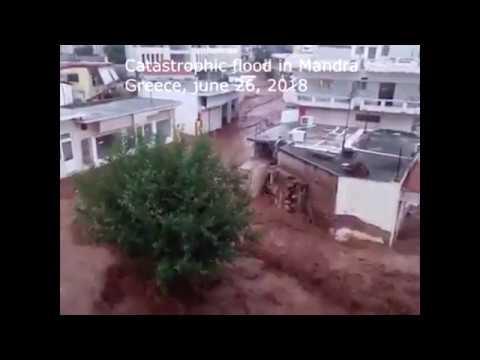 Сatastrophic flood in Mandra, Greece, june 26, 2018 | Наводнение в Мандре, Греция, 26.06.2018