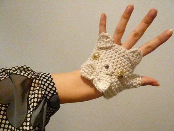 Варежки-митенки без пальцев