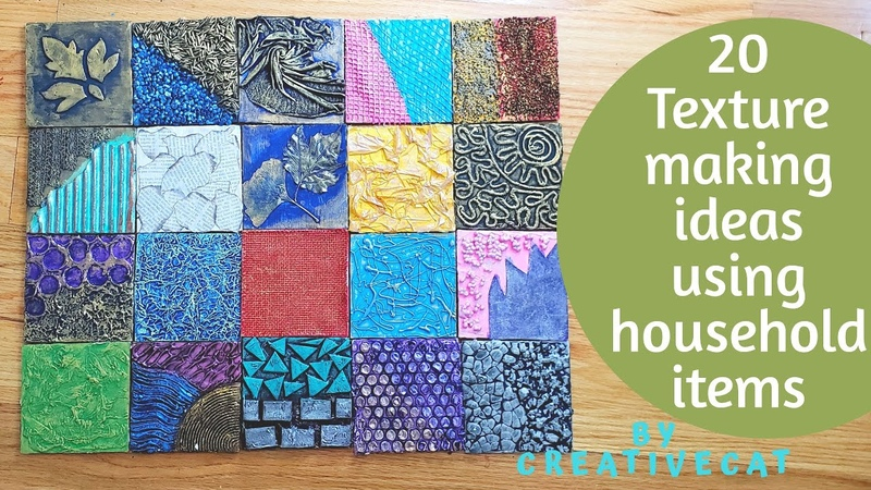 20 Texture Making Ideas using household items ( Part 1) for Mural art, Mixed Media, and Bottle art