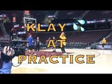 Klay Thompson splashing at practice at The Q in Cleveland, day before 2018 NBA Finals G3