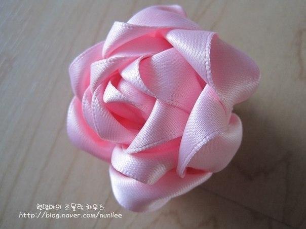 Роза из ленты. Мастер-класс. (9 фото) - картинка