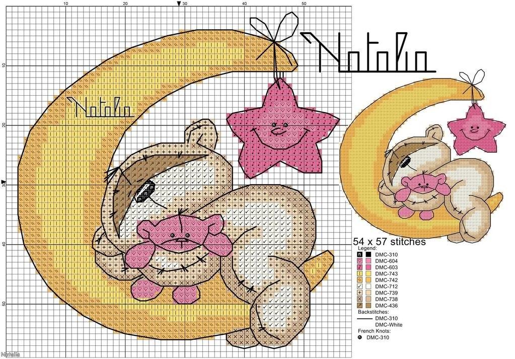 Детские метрики с мишками схемы