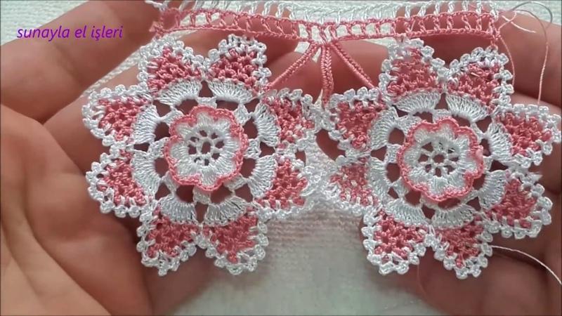 Tasarım tığ oyası farklı kolay havlu kenarı yapımıcrochet flower