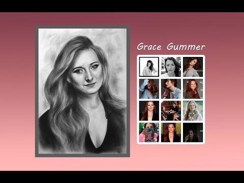 Grace Gummer, портрет в технике сухая кисть