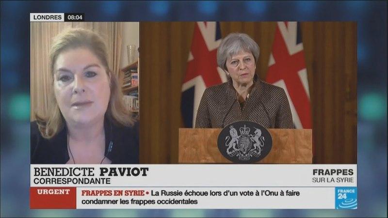 En Grande Bretagne, la décision de May de frapper la Syrie est décriée (F24, 15/04/18, 9h)
