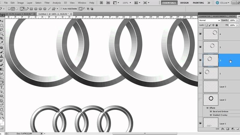 How to Draw Audi Chrome Rings - Audi Logo in Photoshop CS5 - Beginner Tutorial