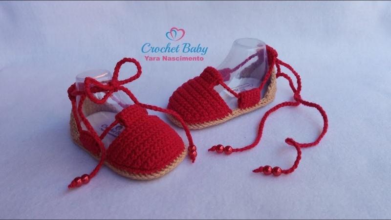 Alpargata IRACY de Crochê - Tamanho 09 cm - Crochet Baby Yara Nascimento