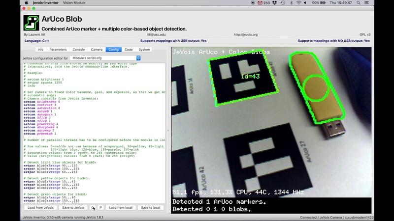 JeVois Inventor - instant Python OpenCV machine vision