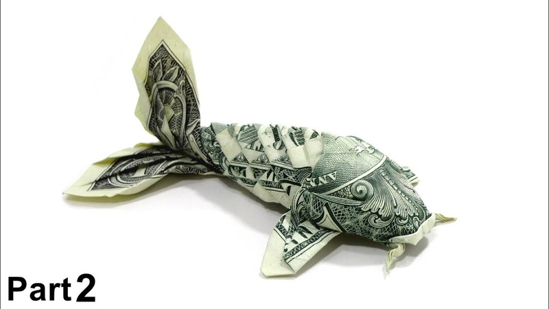 ORIGAMI DOLLAR KOI FISH TUTORIAL (Won Park) PART 2 折り紙 コイ魚 $1 dollar bill money