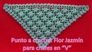 Como tejer Punto a crochet para chales Flor Jazmín en segunda forma paso a paso