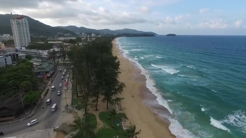 Aerial video shooting of Karon Beach, Phuket, Thailand