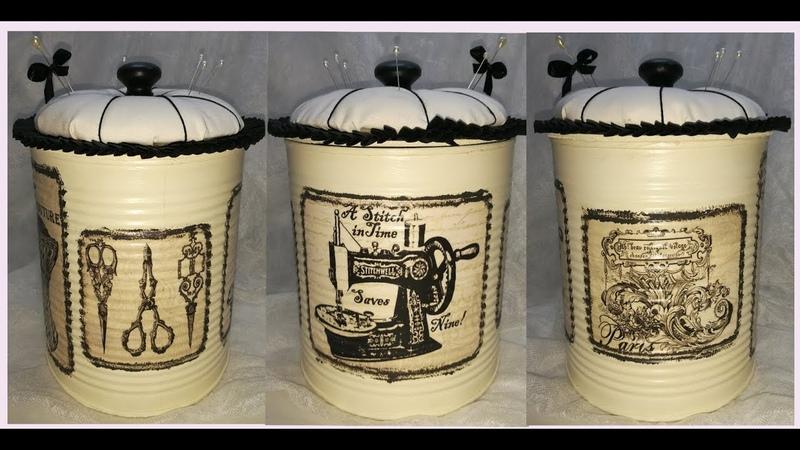 Reciclaje original de latas.Bote para hilos con papel de decoupage