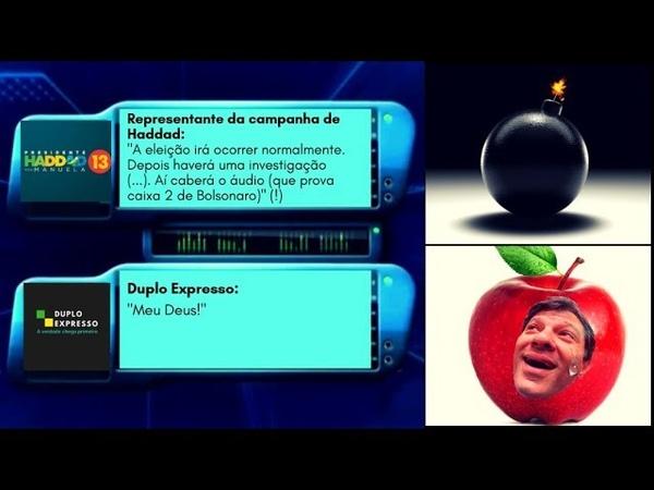 Print-bomba: Haddad tinha áudio incriminando Bolsonaro no Caixa 2 do WhatsApp. Cadê?