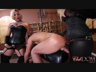 2 femdoms whip their slave [ mistress leather femdom anal facesitting strap on latex fetish bdsm bondage hardcore]