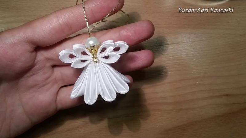 DIY Kanzashi angyal 2 / Christmas Kanzashi angel / satin ribbon angel / Karácsonyfa dísz készítése