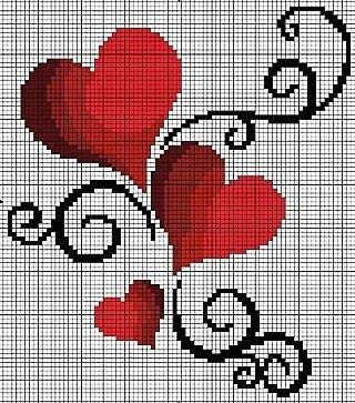 Картинки сердечки вышивка крестом