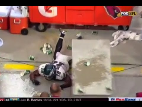Eagles' Jeremy Maclin Can't Stop Himself from Crashing into Gatorade Table