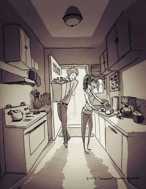 Художник Кертис Виклунд иллюстрирует каждый день, прожитый с любимой ж