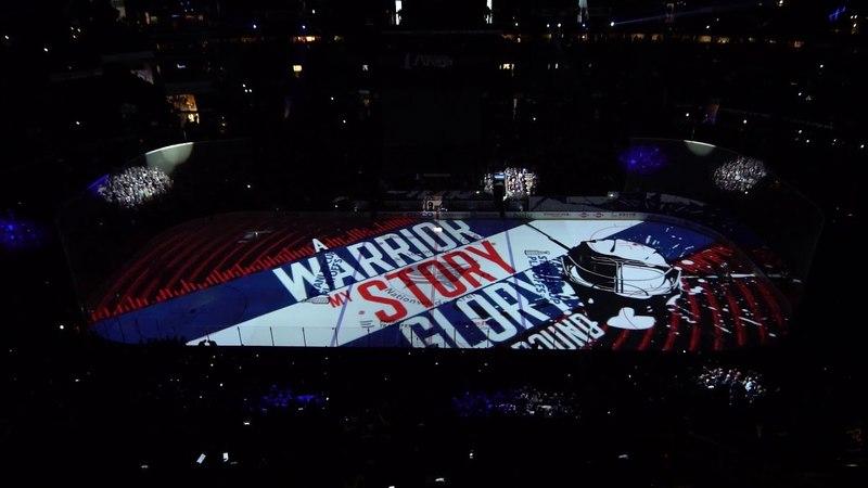 Предматчевое шоу на домашней арене Коламбуса перед третьим матчем серии плей офф с Вашингтоном