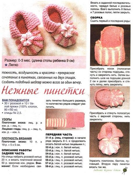 Как связать пинетки носки спицами