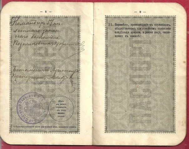 Паспорт (паспортная книжка безсрочная) гражданина Российской Империи. Фото отсутствует.