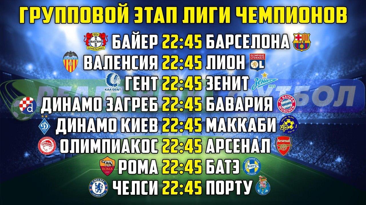 Расписание матчей Лиги Чемпионов на сегодня (09.12.2015)