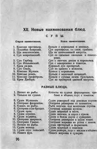 Списки кулинарных блюд. 1928 г. Как поменяли буржуазные названия на пролетарские.