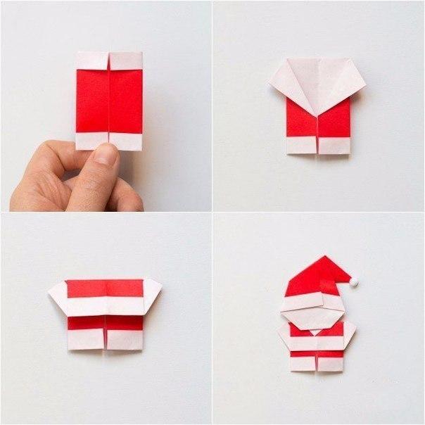 Открытка дед мороз своими руками из бумаги оригами